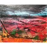 "Fiona Matheson BA(Hons) (Scottish, B.1964) ""Crimson Fields"", oil on board, signed with artist"