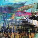 "Fiona Matheson BA(Hons) (Scottish, B.1964) ""Four Houses"", mixed media, signed to lower left,"