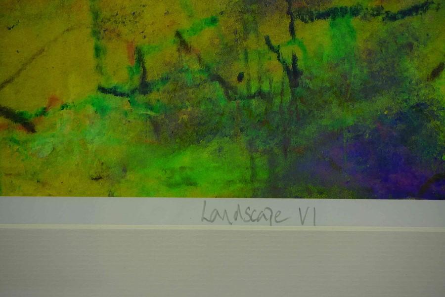 "Justine Miller (British, B.1970) ""Landscape VI"" 1/1, multi-media print, initialled and titled on - Image 5 of 5"
