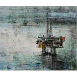 "Georgina Bown SSA (British, B.1965) ""Oil Rigg 3"", mono print, artist label to verso. 45cm x 58cm ("