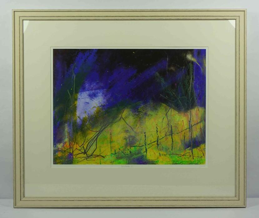 "Justine Miller (British, B.1970) ""Landscape VI"" 1/1, multi-media print, initialled and titled on - Image 2 of 5"