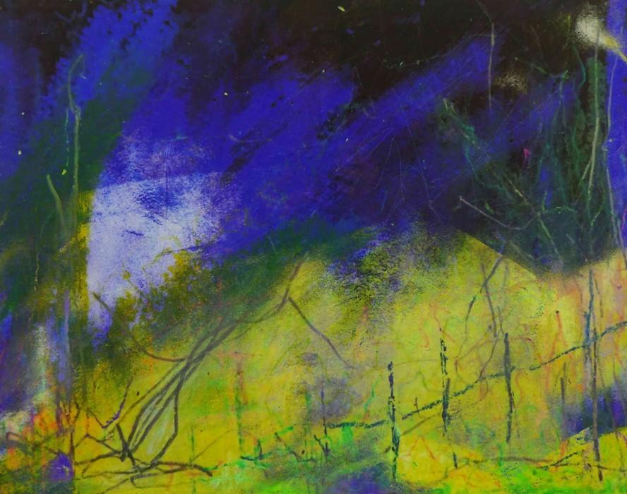 "Justine Miller (British, B.1970) ""Landscape VI"" 1/1, multi-media print, initialled and titled on - Image 3 of 5"