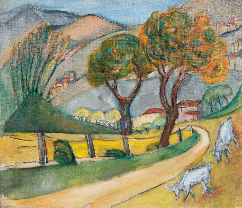 Lot 156 - Banco, Alma del (Hamburg 1863 - Hamburg 1943) Mountainous Landscape with Goats Around 1932, oil on
