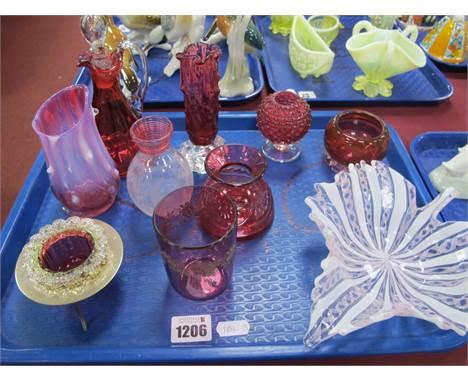 A Venetian Leaf Dish, 20cm long, XIX Century Cranberry glass oil bottle, tumbler salts, posies, etched glass ovoid vase with