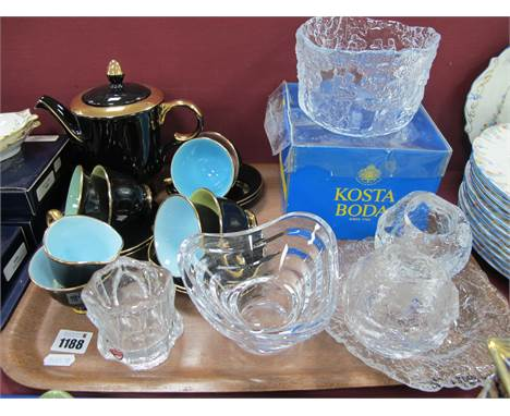 Vintage Stavangerflint (Norway) Harlequin Coffee Set, comprising coffee pot, six cups and saucers, cream jug and sugar bowl;