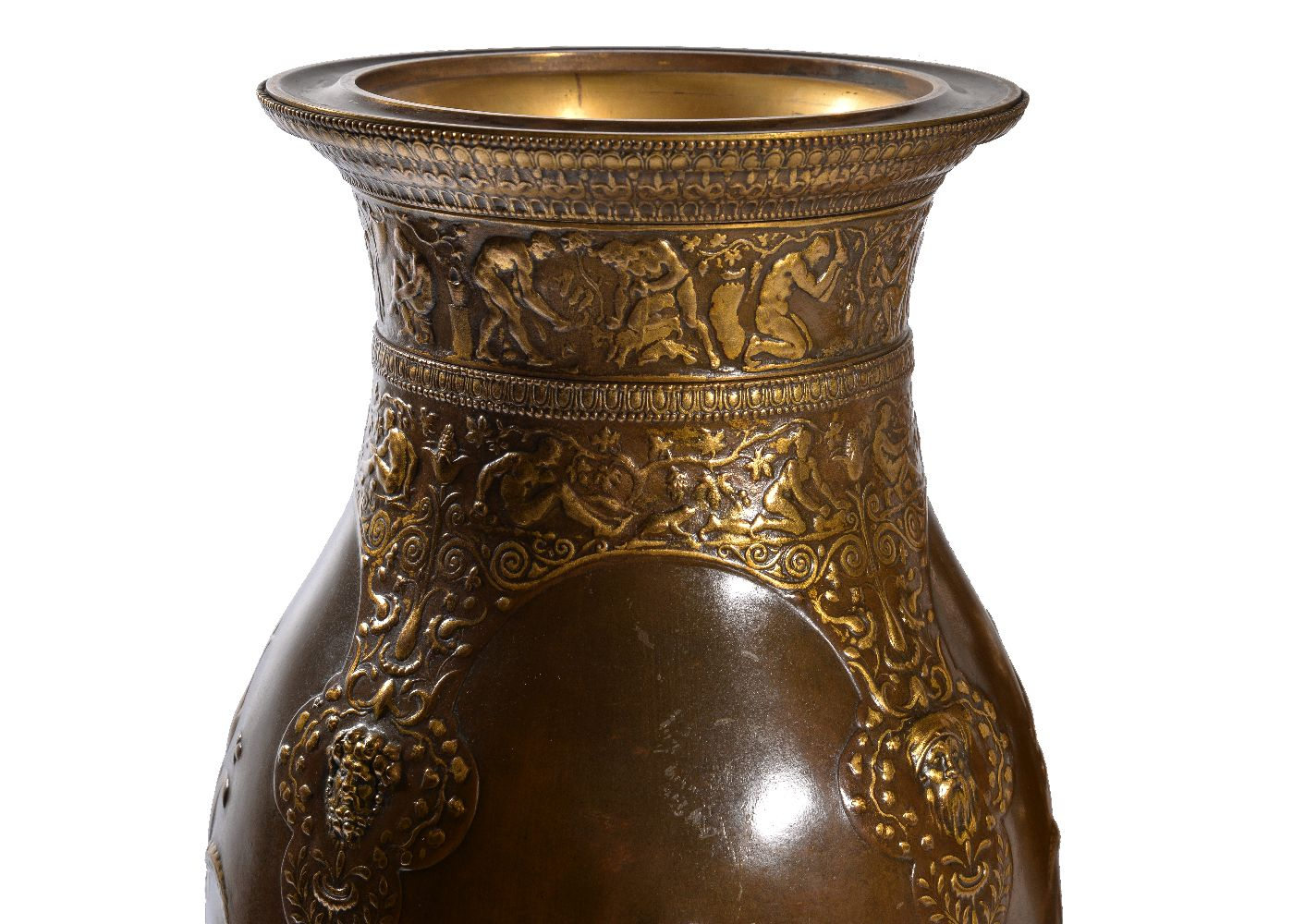 Lot 96 - ‡ A pair of parcel gilt & patinated bronze vases in the Neo-Grec taste by Ferdinand Barbedienne and