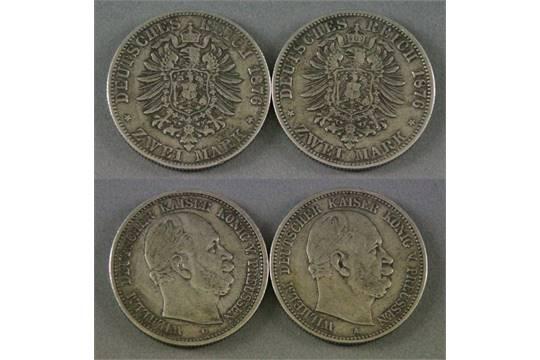 2 M252nzen Aus Silber Quotzwei Markquot Preussen 1876 C