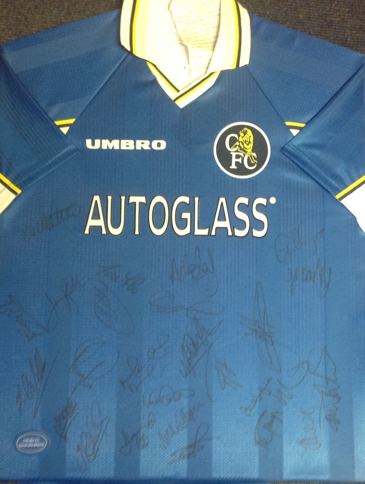 Lot 44 - Chelsea FC signed shirt signed by over 20 members of the squad that won The League cup and UEFA