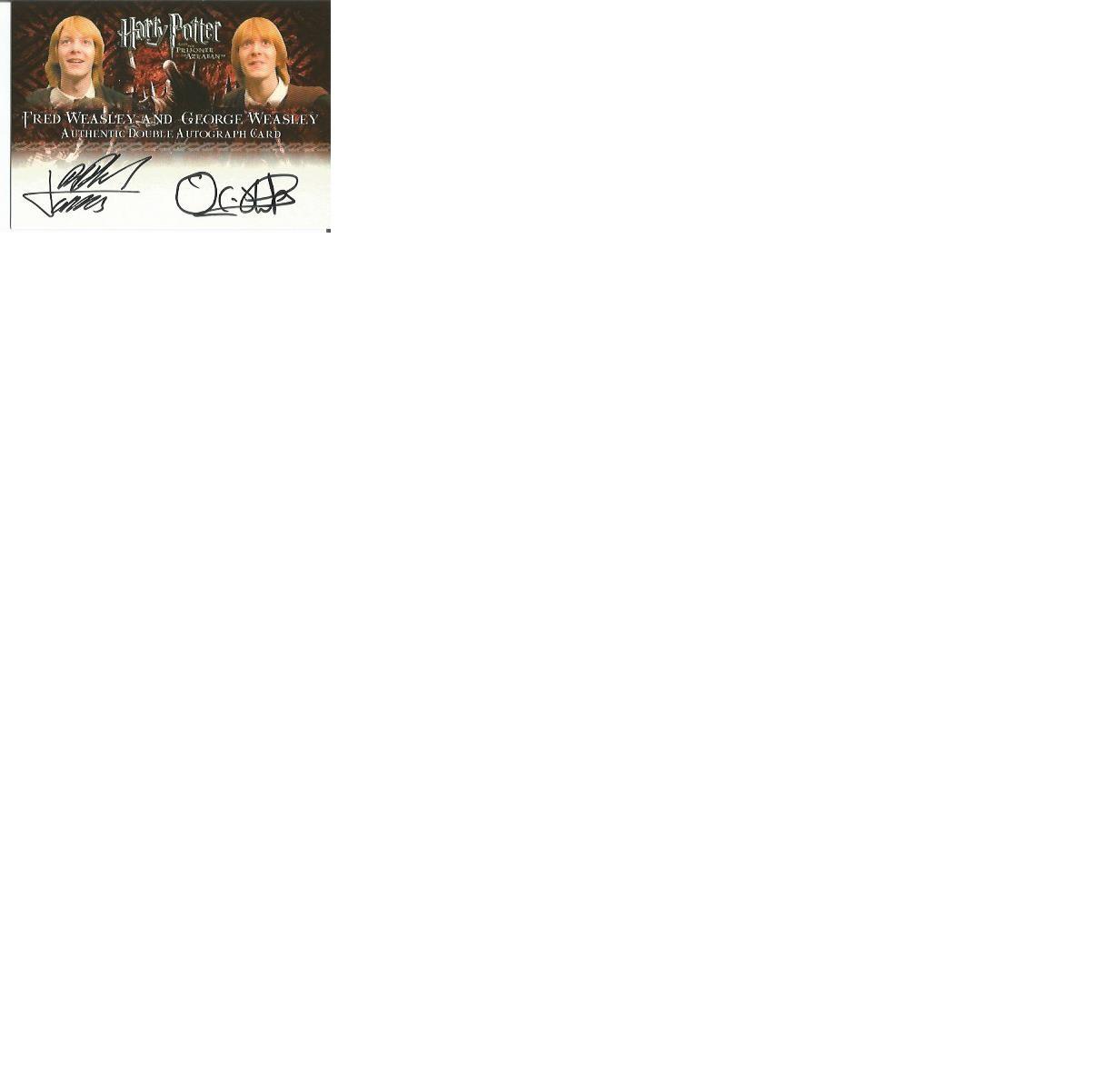 Lot 61 - James and Oliver Phelps signed Harry Potter Prisoner of Azkaban autographed Artbox trading card.
