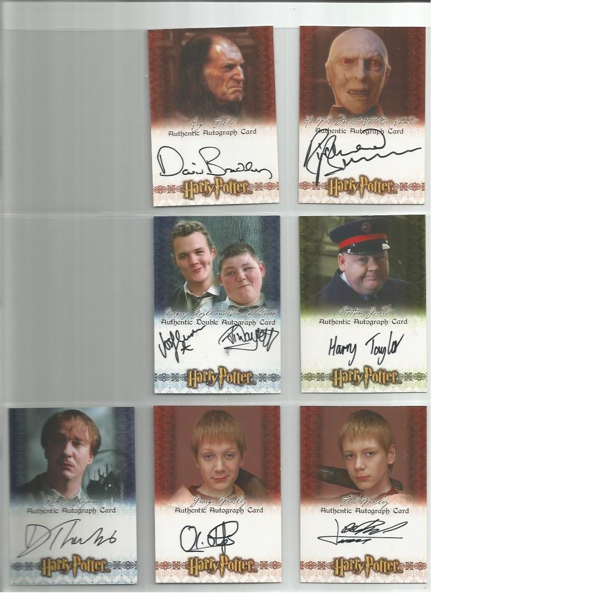 Lot 48 - The World of Harry Potter autographed collection of Artbox trading cards. Twelve cards Includes