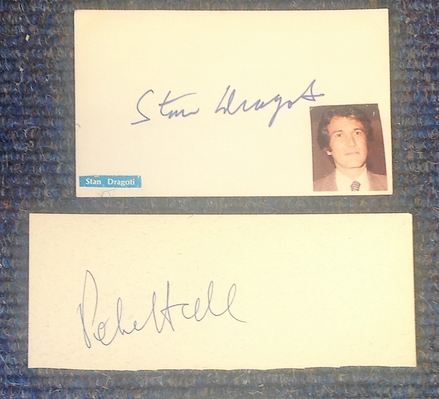 Lot 16 - Film Makers and Writers signed card collection. Stan Dragoti, Sir Peter Hall. Good Condition. All