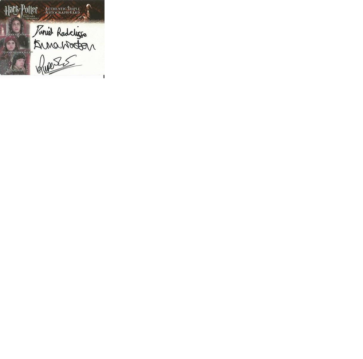 Lot 60 - Daniel Radcliffe, Emma Watson and Rupert Grint signed Harry Potter Prisoner of Azkaban autographed