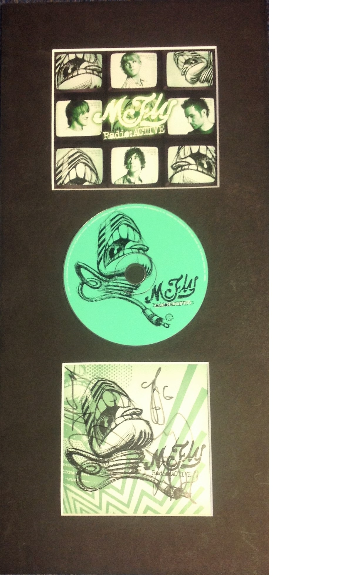 Lot 42 - McFly 19x9 overall signature piece includes Radio Active promo, Radioactive CD and a CD sleeve