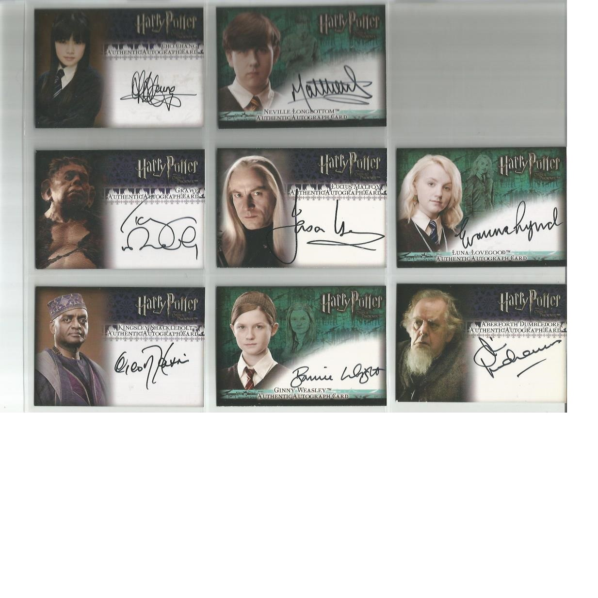 Lot 59 - Harry Potter autographed Order of the Phoenix collection of Artbox trading cards. Eight cards