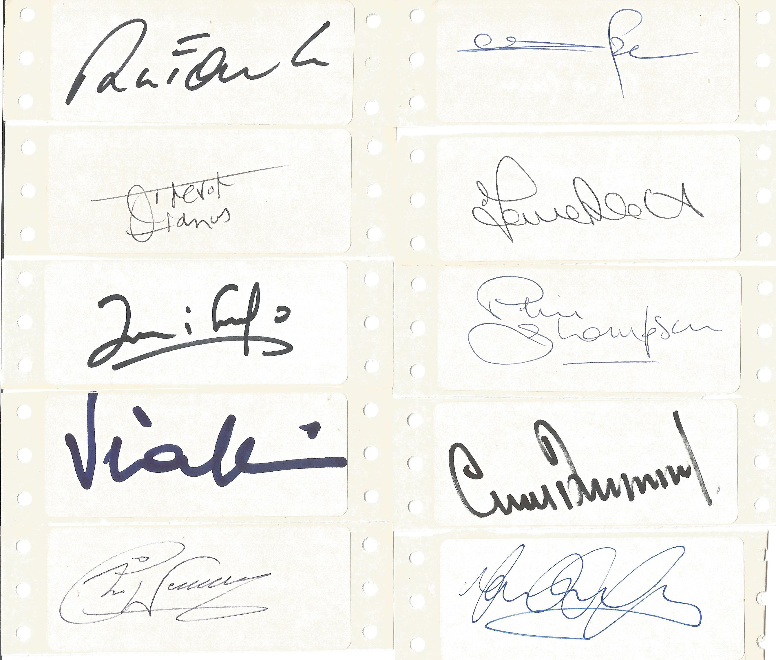 Lot 2 - Football Heroes signed card collection 17 individual signatures on white adhesive labels includes