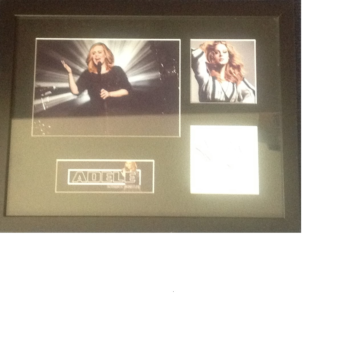 Lot 45 - Adele signature piece framed and mounted to 44 x 34cm. Good Condition. All signed pieces come with a