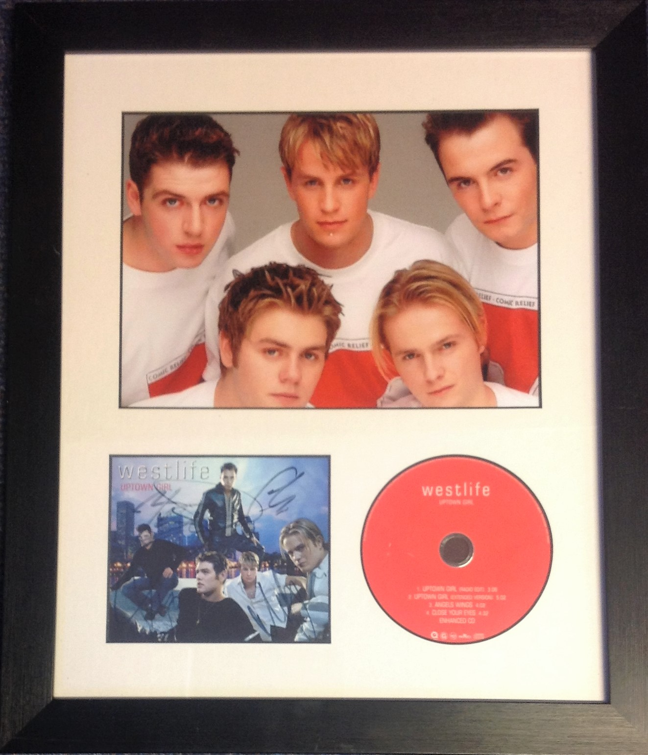 Lot 43 - Westlife 18x15 overall framed and mounted signature piece includes 10x7 colour photo, Uptown Girl CD