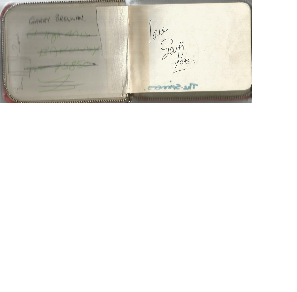 Lot 6 - Small autograph book containing 10+ signatures. Amongst them are The Spinners, Lorraine Chase, Jim