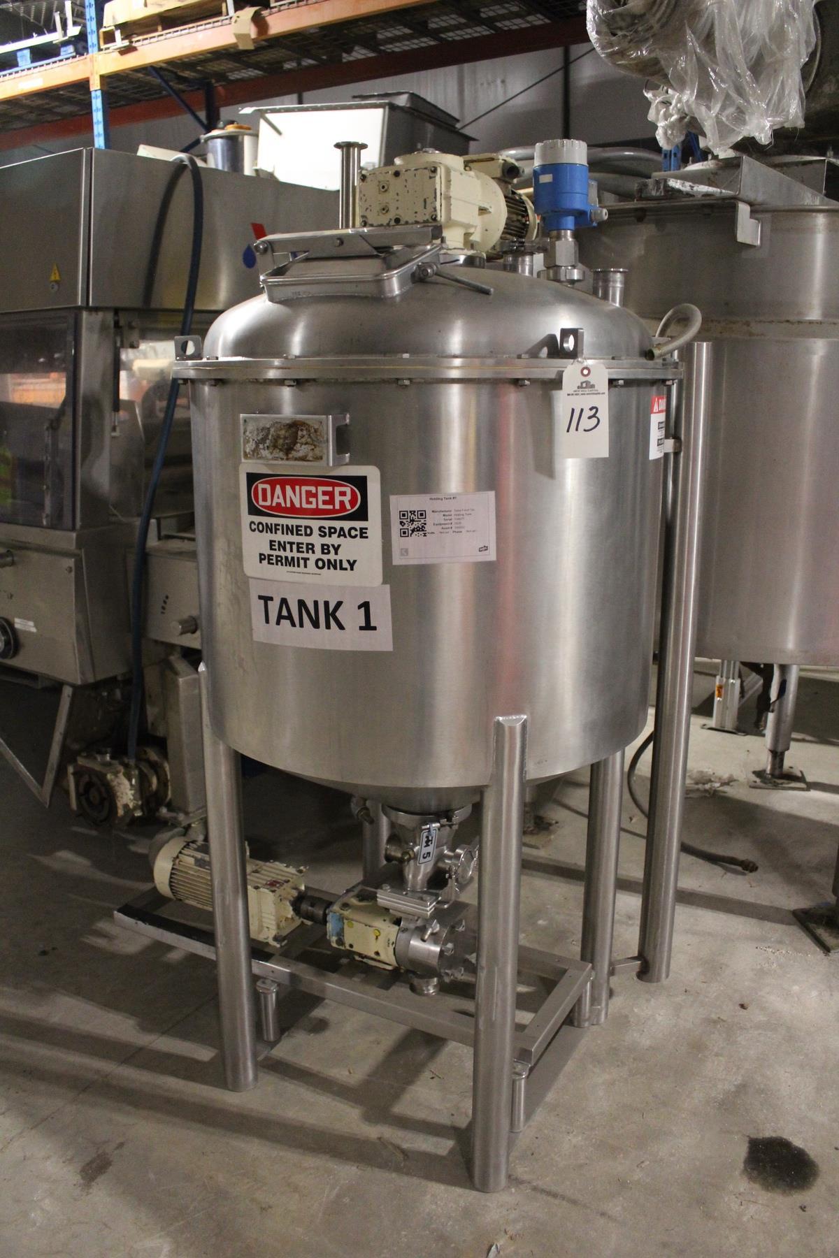 Lot 2H - Tanis Food Tec 200 Gallon, Jacketed, Scrape Surface Holding Tank, W/ Waukesha Cherry Burrell Positiv
