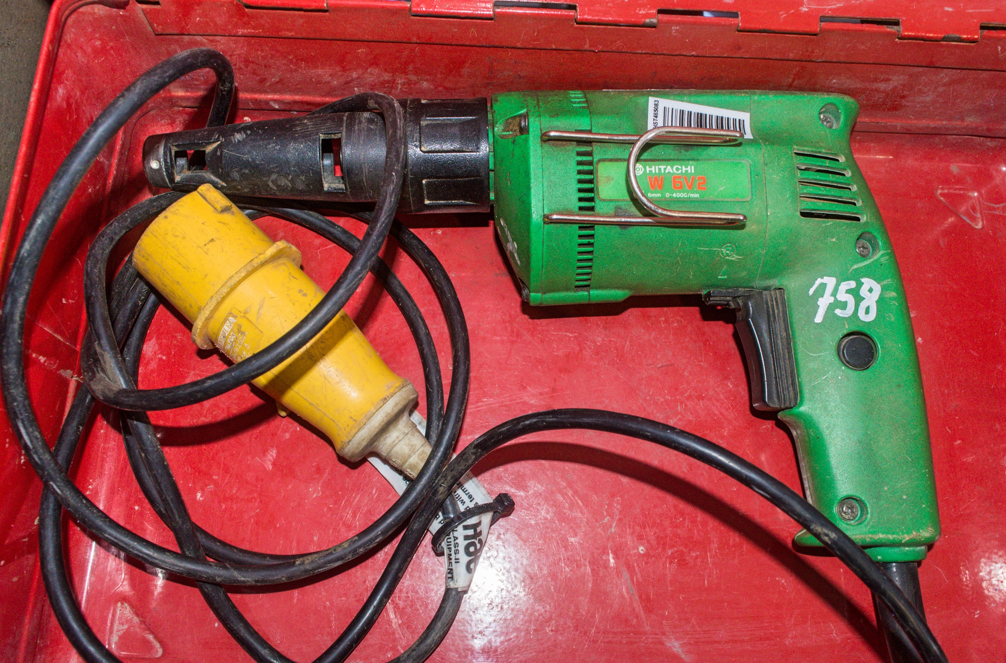 Lot 758 - Hitachi 110v screw gun c/w carry case