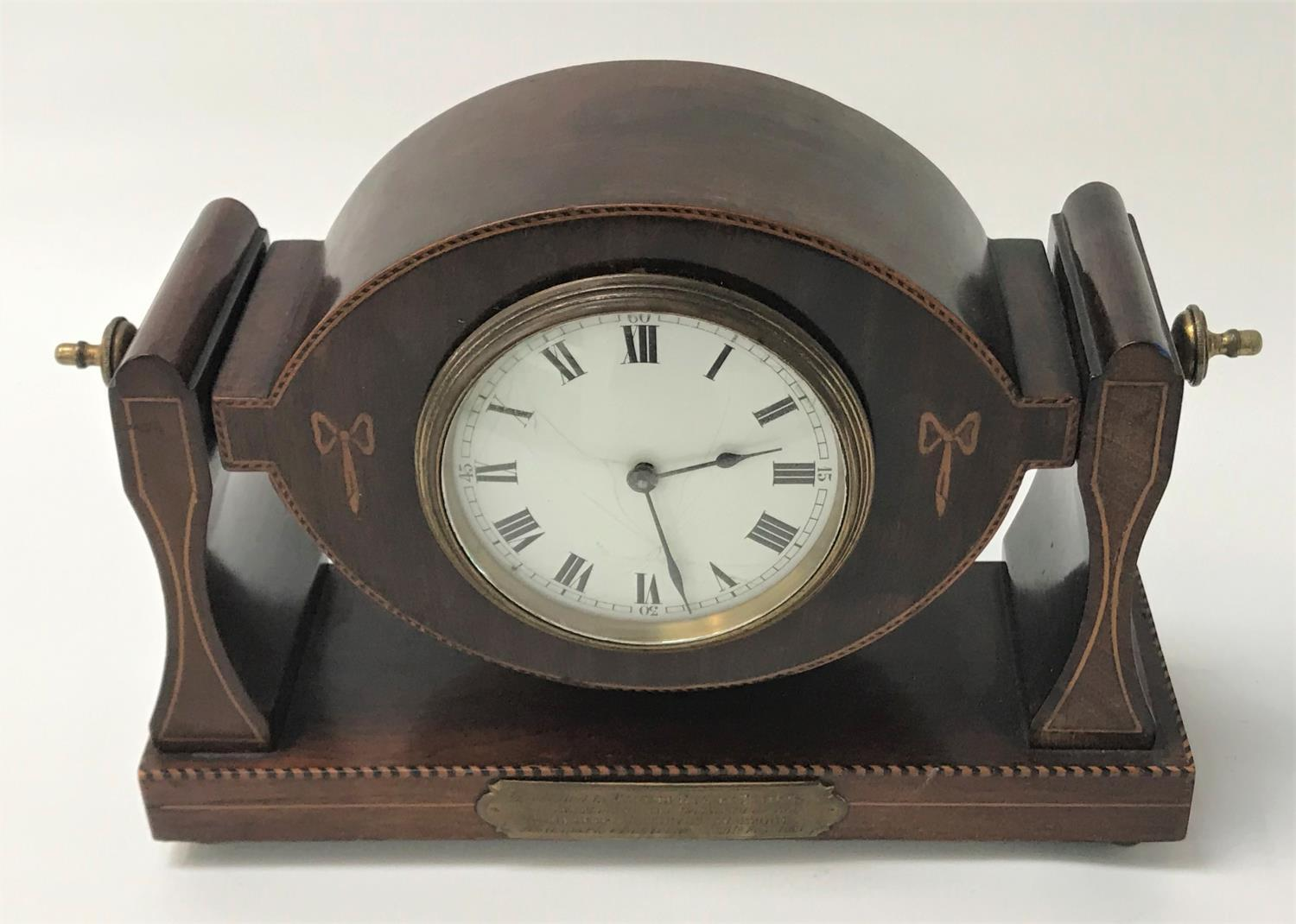 Lot 268 - MAHOGANY CASED SWISS MADE BUREN MANTEL CLOCK the white enamel dial with Roman numerals, the
