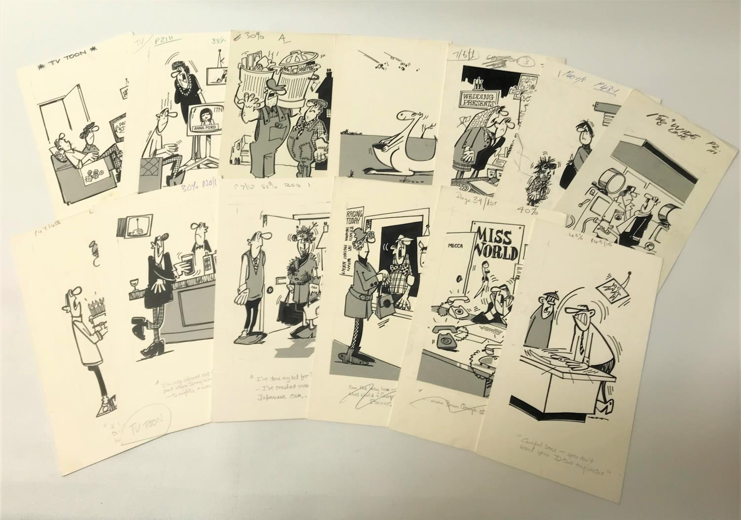 Lot 275 - ROD MCLEOD (Scottish cartoonist) fifteen ink drawings, late 1970/early 1980s, mixed humorous