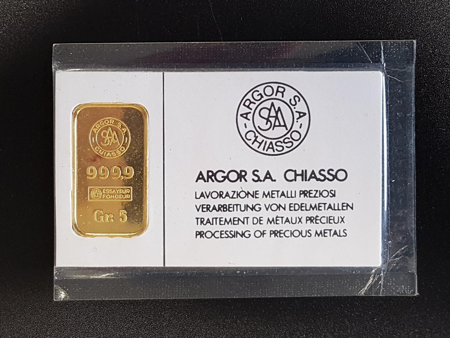 Lot 21 - ARGO S.A. CHIASSO FINE GOLD 999.9 INGOT 5 grams