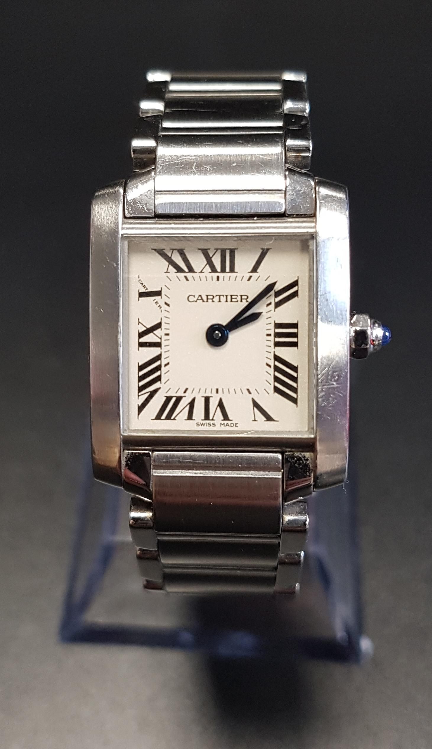 Lot 34 - LADIES CARTIER TANK FRANCAISE STAINLESS STEEL WRISTWATCH the square dial with Roman numerals, on