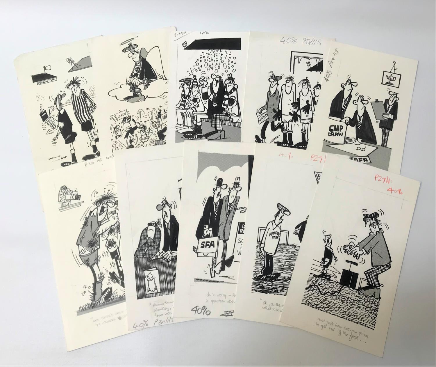 Lot 276 - ROD MCLEOD (Scottish cartoonist) ten ink drawings, late 1970/early 1980s, Football related, pencil