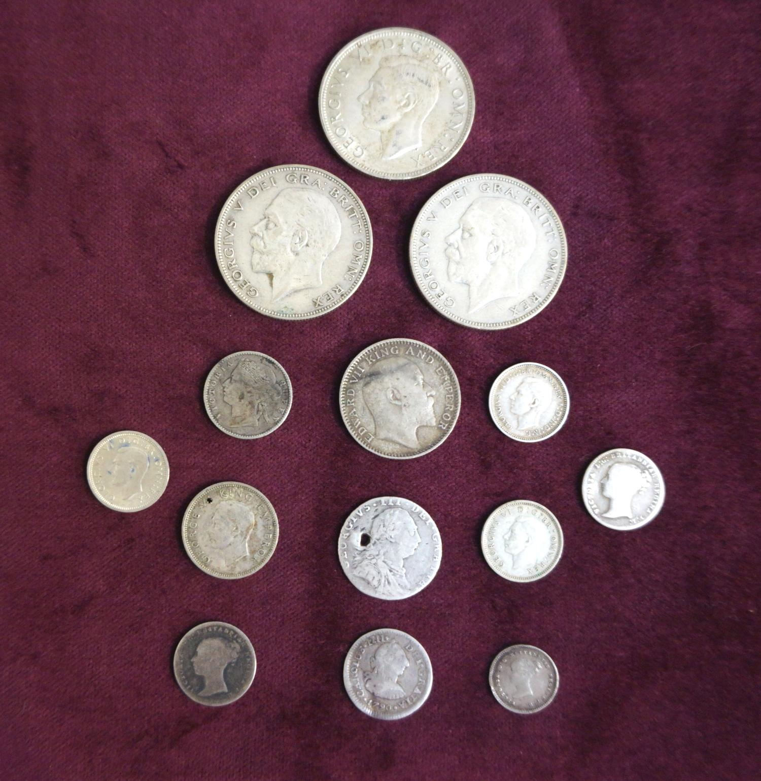 Lot 364 - SELECTION OF BRITISH SILVER COINS PRE-1946 some pre-1920, including 1936 and 1942 crowns, a George