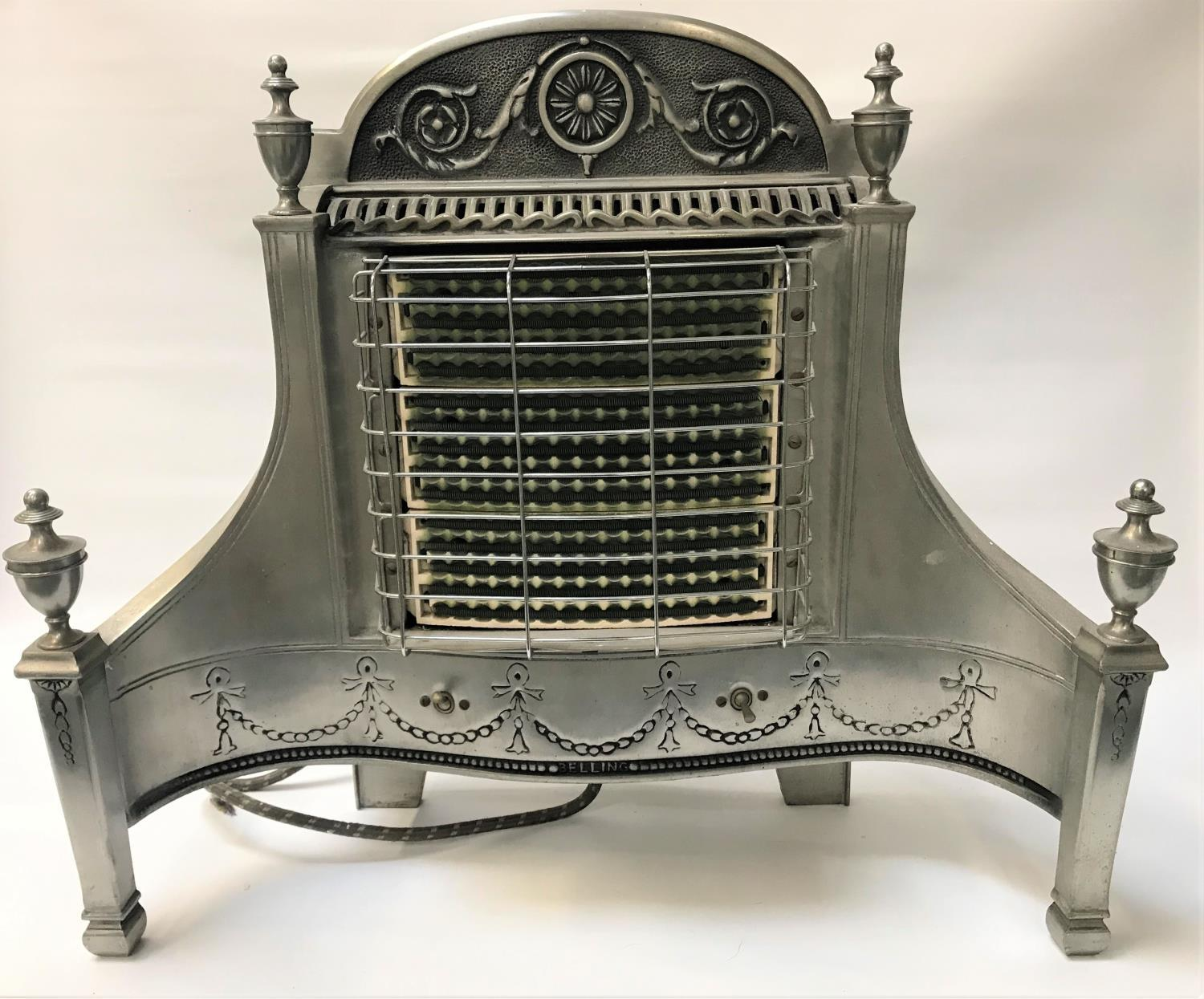 Lot 242 - BELLING & CO ELECTRIC FIRE in the Georgian style of shaped form with urn finial decoration
