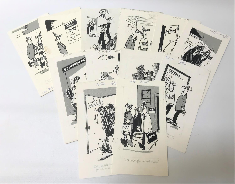 Lot 274 - ROD MCLEOD (Scottish cartoonist) twelve ink drawings, late 1970/early 1980s, Scottish Football