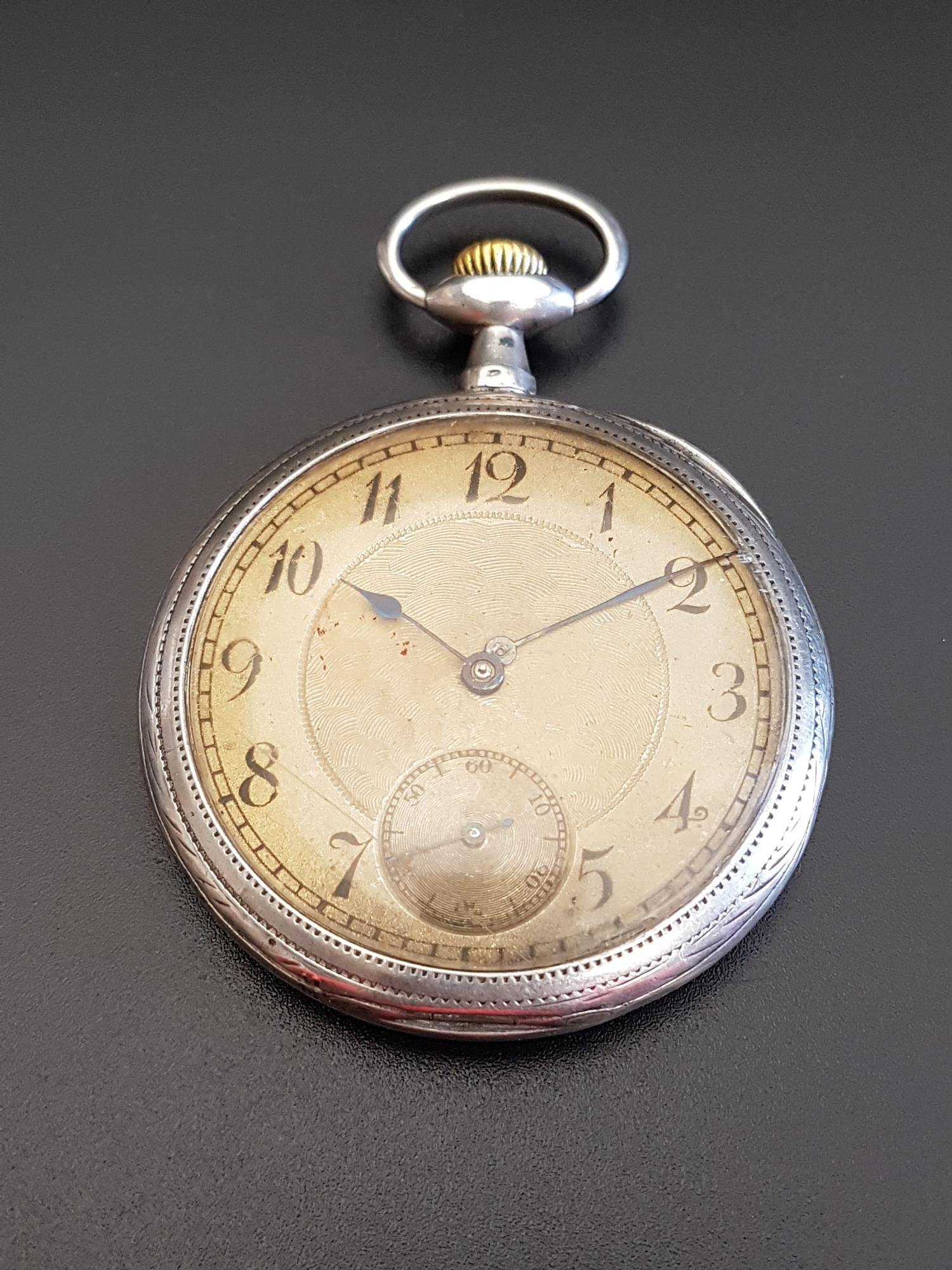 Lot 68 - CONTINENTAL SILVER CASED POCKET WATCH the gilt dial with Arabic numerals, subsidiary seconds dial