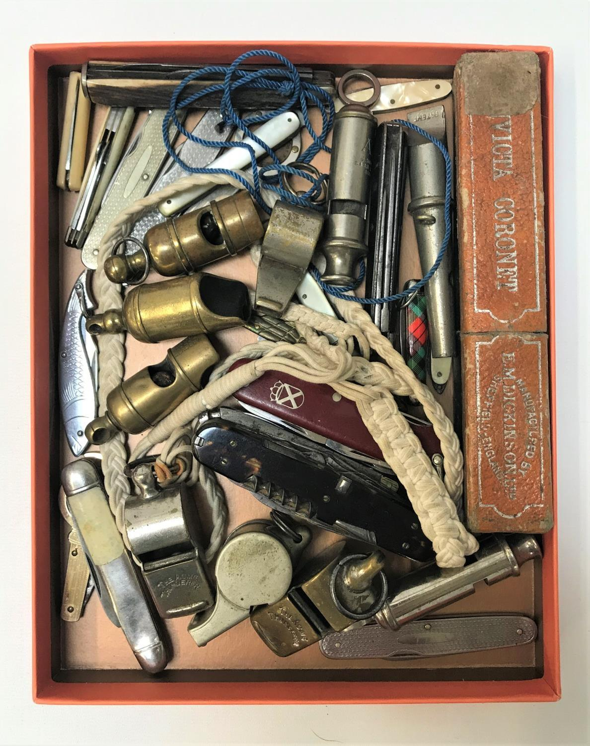 Lot 260 - SELECTION OF WHISTLES AND KNIVES the knives including a Swiss Army multi tool, various fruit and