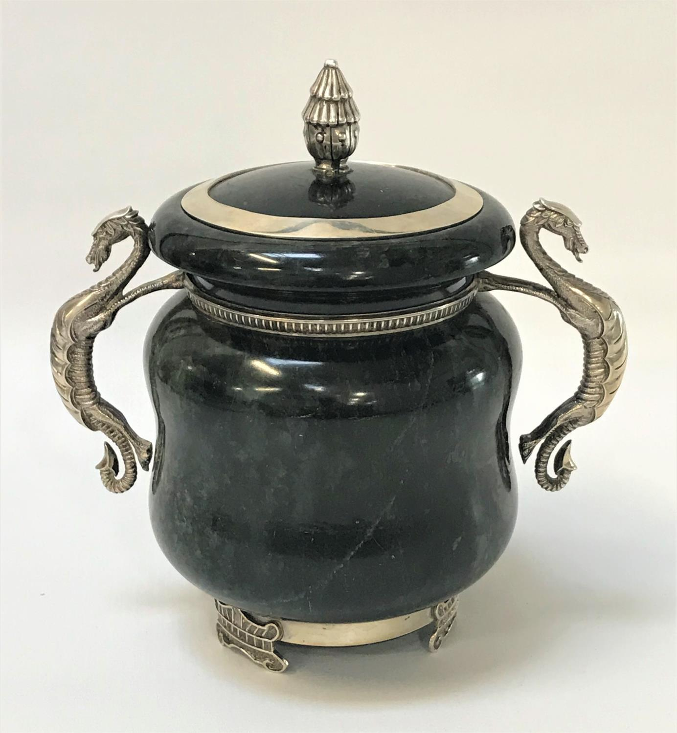 Lot 292 - NEPHRITE JAR AND COVER of squat bulbous form, the lid with a silver finial and rim, the jar with a