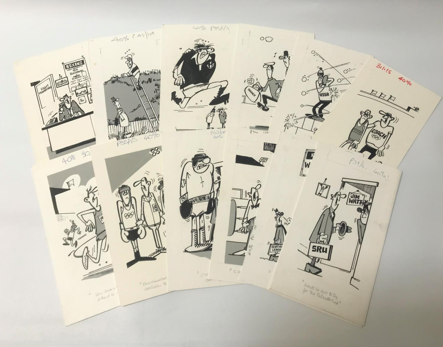 Lot 277 - ROD MCLEOD (Scottish cartoonist) thirteen ink drawings, late 1970/early 1980s, Sports related,