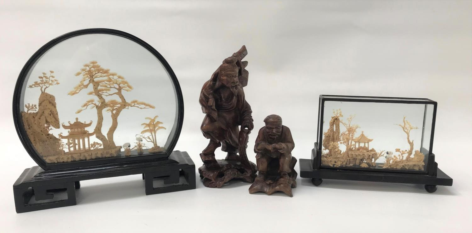 Lot 241 - CHINESE CORK DIORAMA in a shaped case, depicting a pagoda amongst trees, 23cm high, a similar
