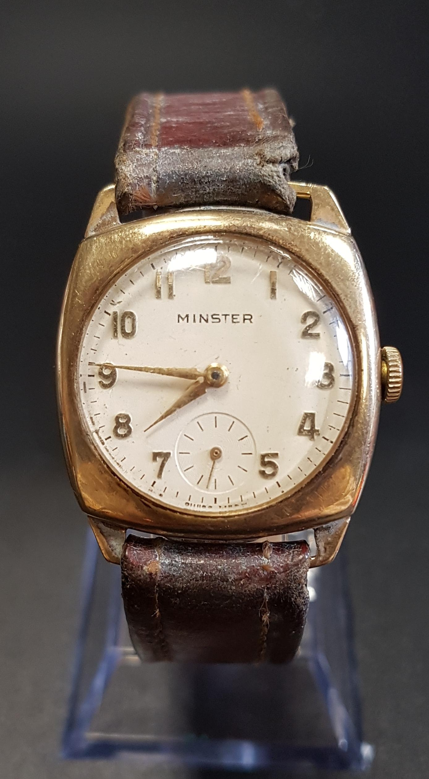 Lot 82 - NINE CARAT GOLD CASED MINSTER WRISTWATCH the cream dial with Arabic numerals and subsidiary