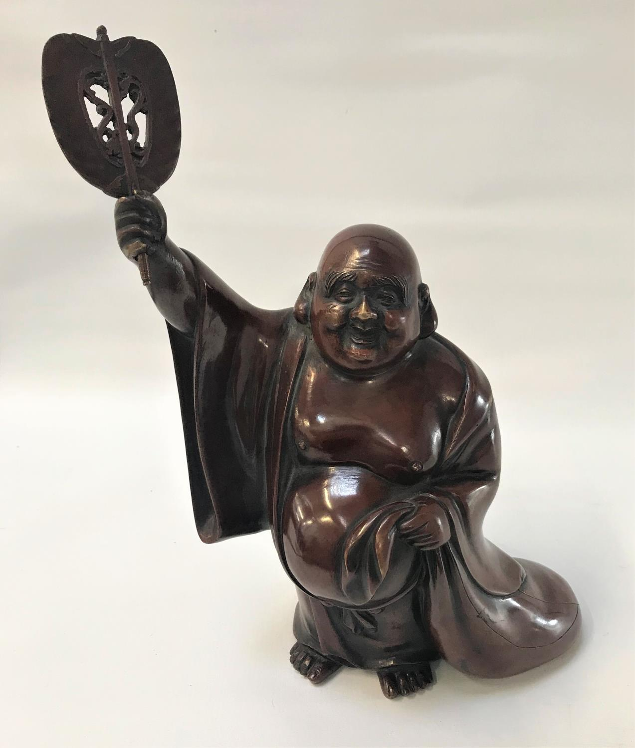 Lot 290 - 19TH CENTURY BRONZE FIGURE OF HOTEI wearing a loose open robe, with a smiling expression and one arm