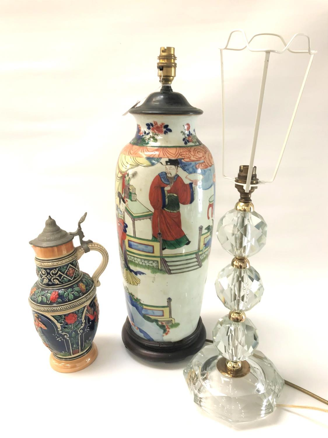 Lot 244 - CHINESE TABLE LAMP decorated with figures, 56cm high; a cut glass table lamp with a shaped base