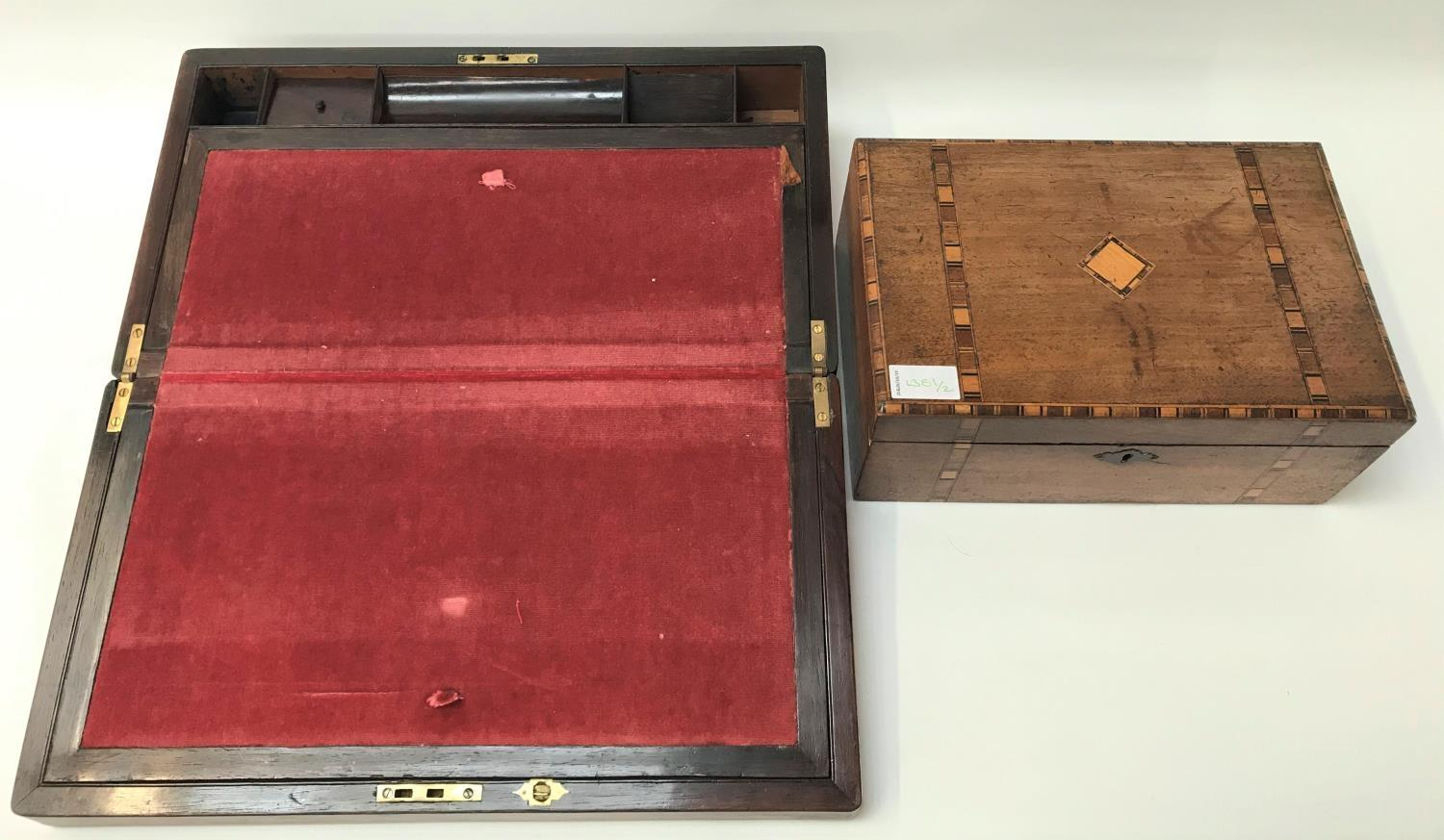 Lot 251 - VICTORIAN ROSEWOOD WRITING SLOPE with an inset mother of pearl plaque to the lid, with a fitted