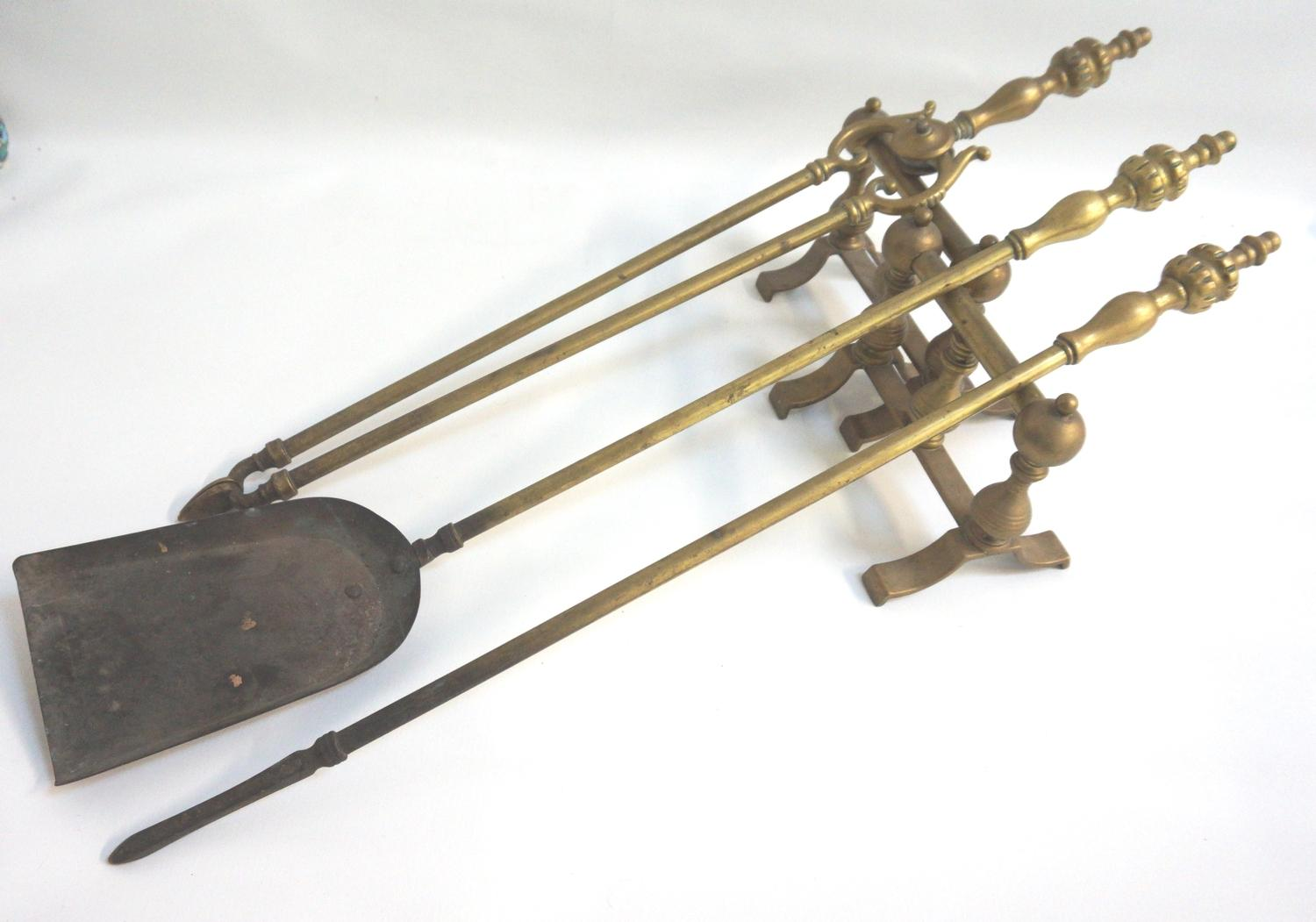 Lot 297 - EARLY 20TH CENTURY BRASS FIRE TOOLS comprising a shovel, pair of tongs, poker and two andirons