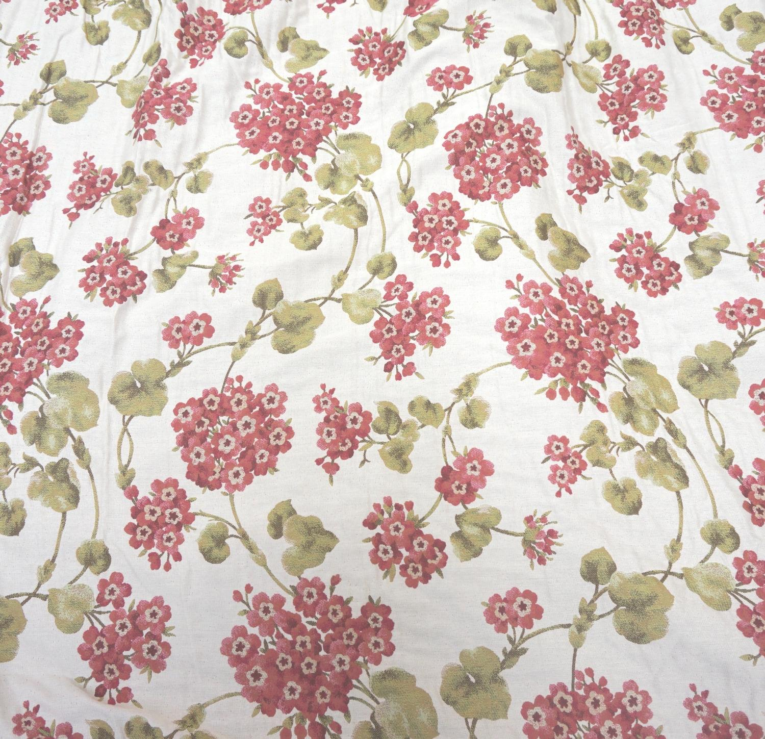 Lot 294 - PAIR OF HEAVY BROCADE CURTAINS with an off white ground with green and red flowers, 295cm long