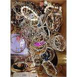 SELECTION OF COSTUME JEWELLERY including black and white pearl bracelets, bangles, necklaces,
