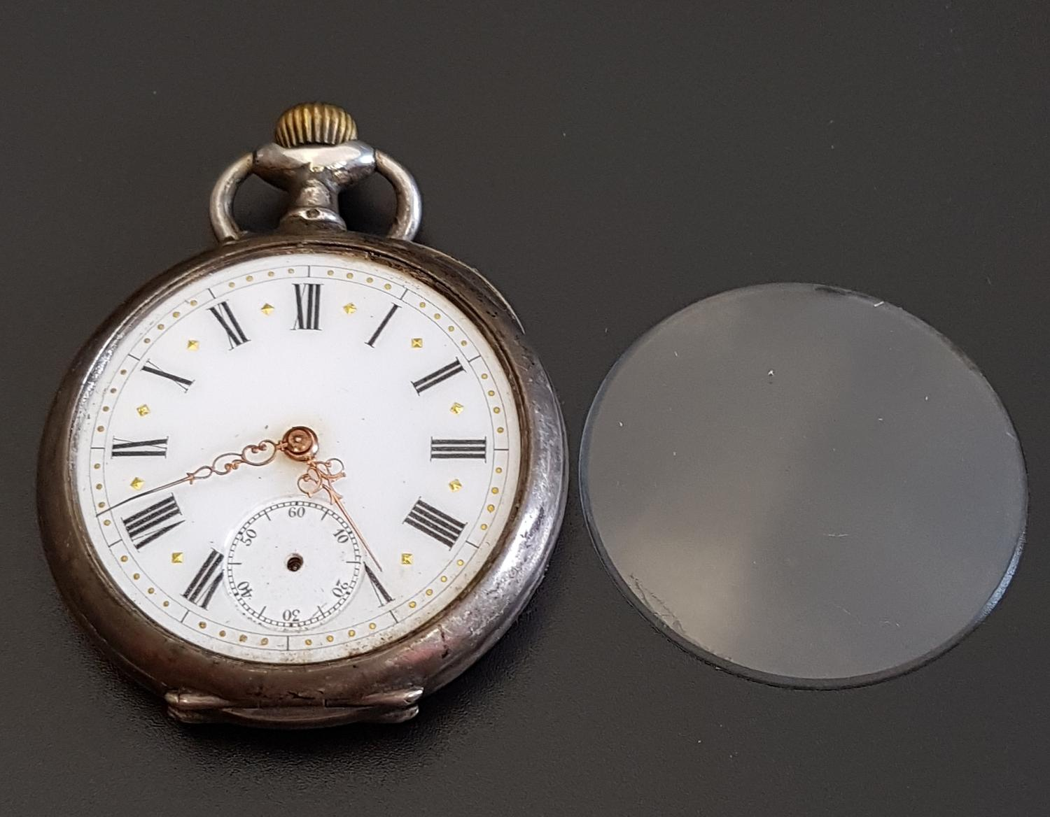 Lot 104 - SILVER CASED POCKET WATCH the white enamel dial with Roman numerals, subsidiary seconds dial and