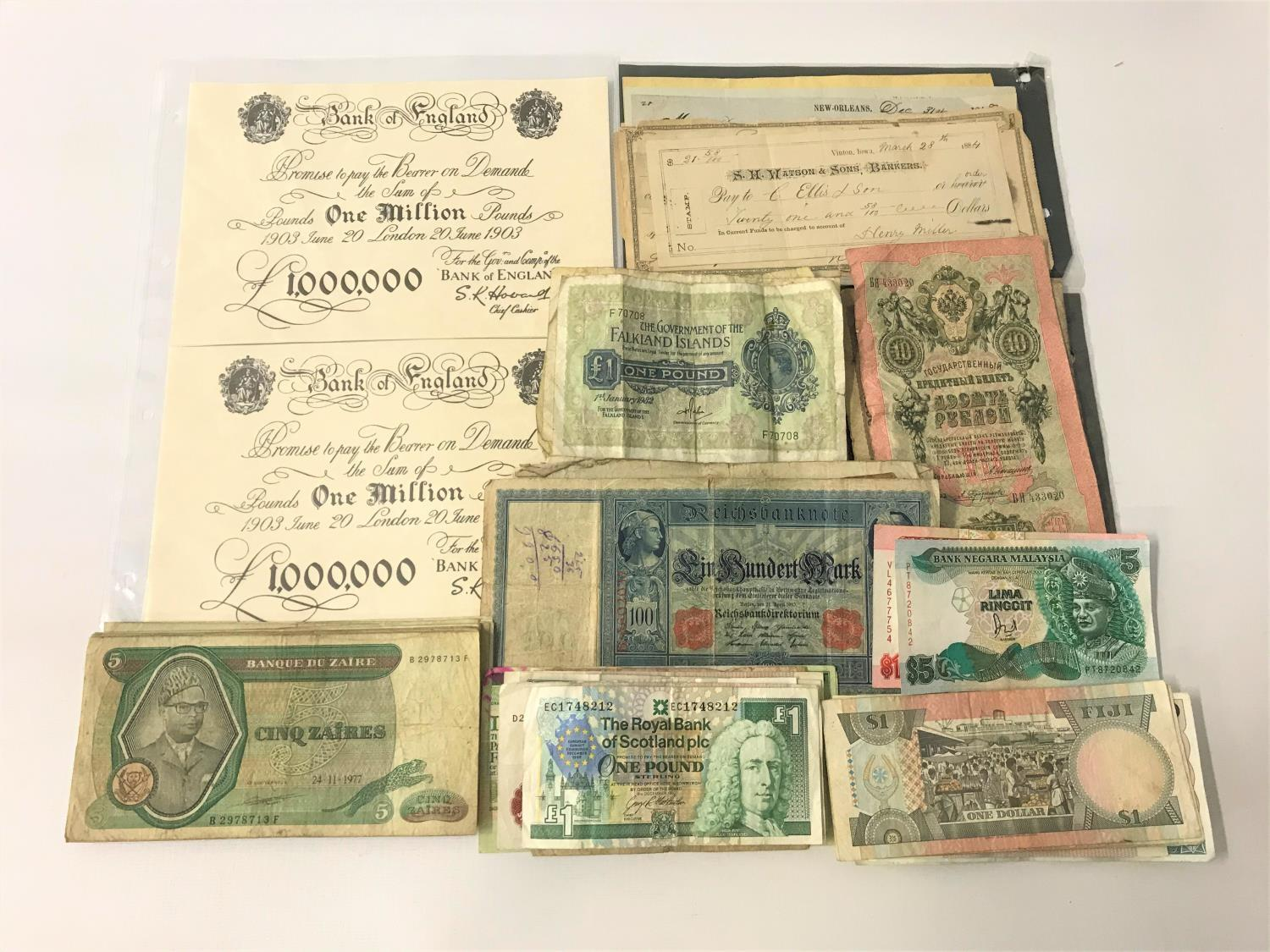 Lot 359 - LARGE SELECTION OF VINTAGE WORLD BANK NOTES including Europe, South America, Asia and Africa, four