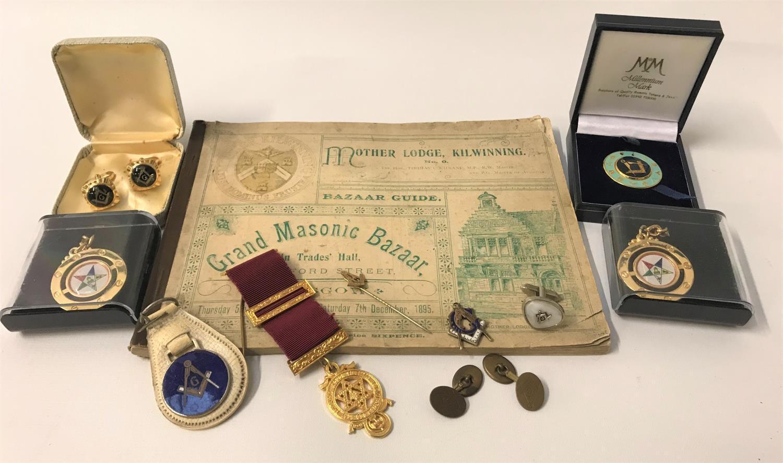 Lot 264 - MASONIC INTEREST including a pair of brass cufflinks, a single cufflink, cased pair of cufflinks,