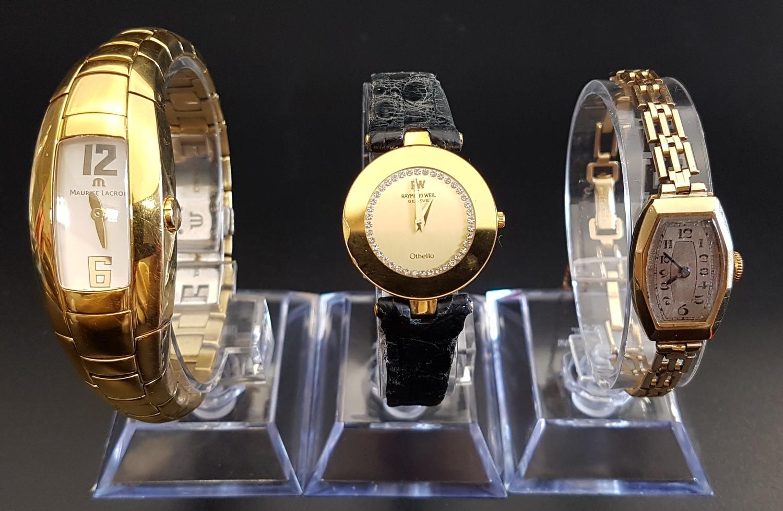Lot 50 - THREE LADIES WRISTWATCHES comprising a Raymond Weil Othello wristwatch, a nine carat gold cased