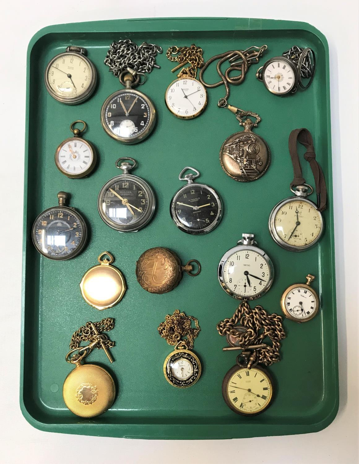 Lot 92 - SELECTION OF POCKET WATCHES some with Albert chains, makes including Edward Glasgow, Waltham,
