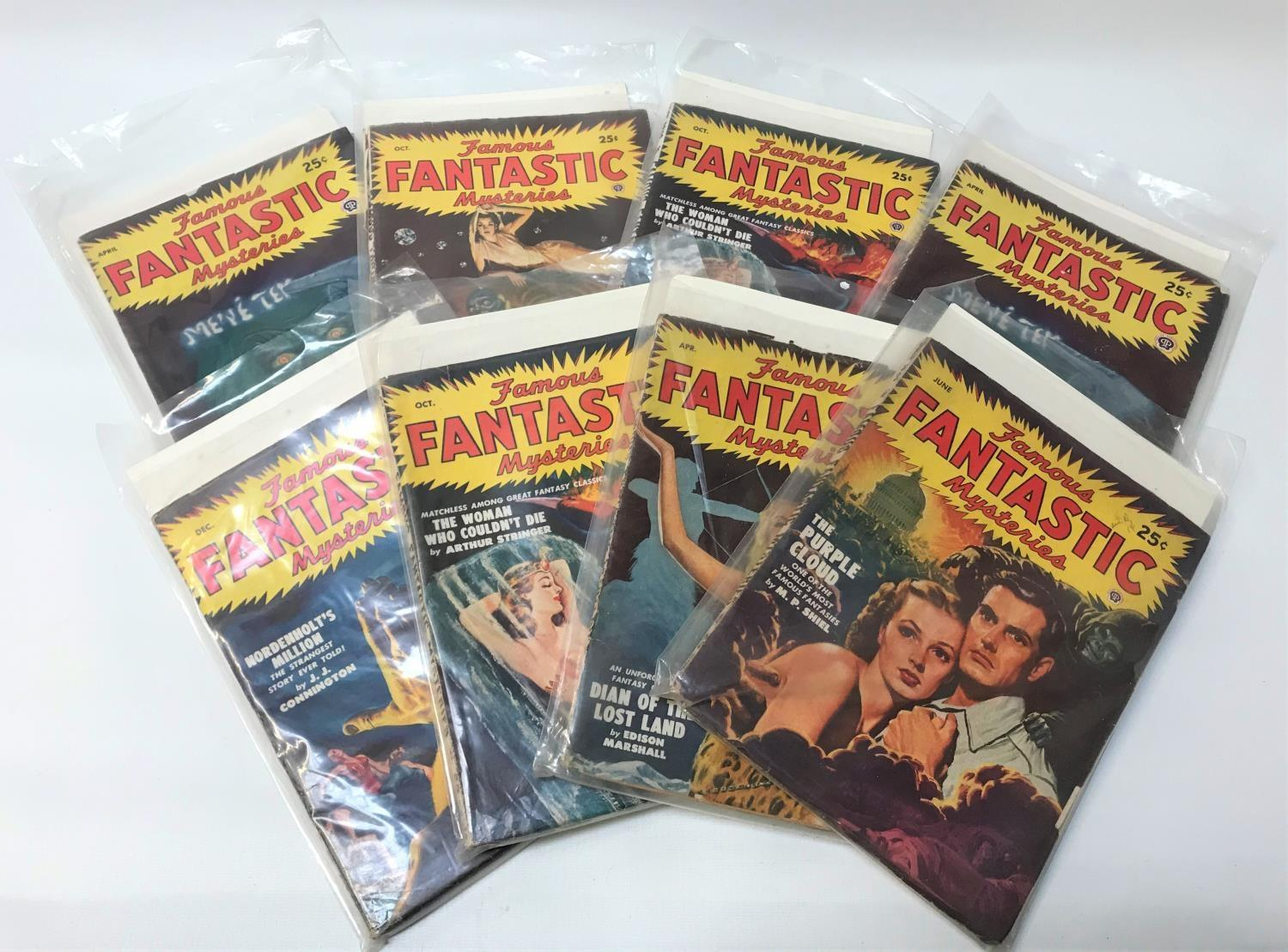 SELECTION OF FAMOUS FANTASTIC MYSTERIES SCIENCE FICTION MAGAZINES eight editions dating from
